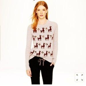 J. CREW Llama Embellished Intarsia Sweater